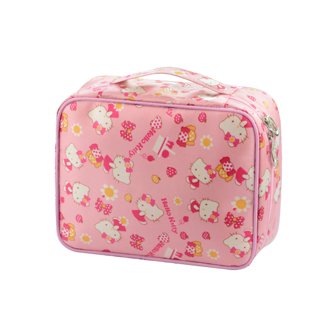 a024cc50f85e Hello Kitty Ladies Cosmetic Bags Waterproof Cases Women Beautiful Cute Makeup  Toiletry Girls portable Travel Pouch Organizer