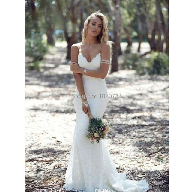 f38ee196b02 Katie May 2017 Spring Summer Bohemian Wedding Dresses Sexy Mermaid  Spaghetti Straps Floor Length Backless Lace