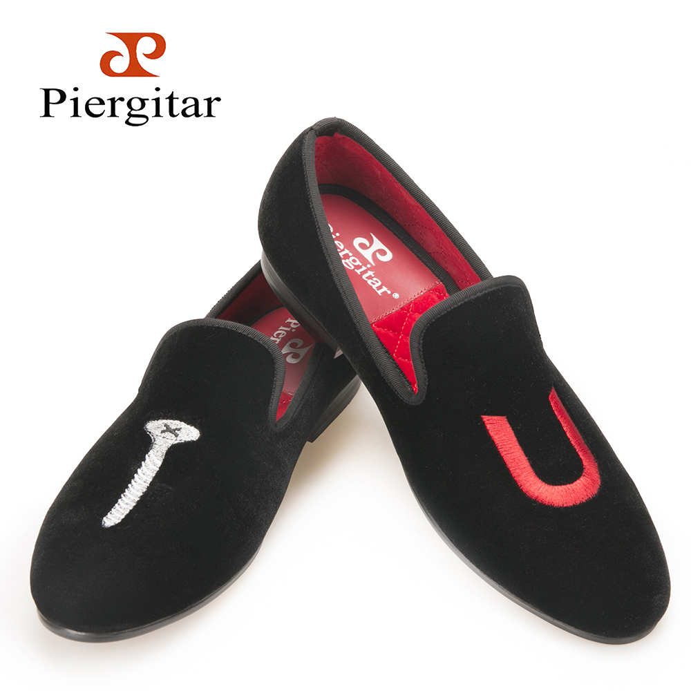 PIERGITAR 2018 new men handmade shoes TU letter embroidery smoking slippers Party and wedding men loafers plus size male flats men loafers paint and rivet design simple eye catching is your good choice in party time wedding and party shoes men flats