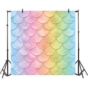 Image 2 - Laeacco fondos de fotografía de princesa sirenita, escamas de peces de arco iris, burbujas, Baby Shower, sesión fotográfica para recién nacido