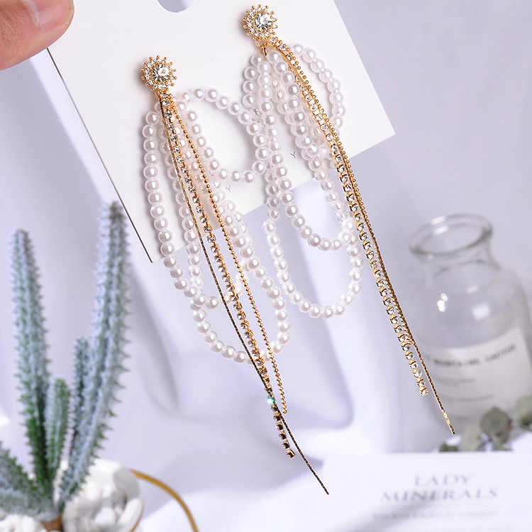2019 Fashion Design Ear Accessories Tassel Earrings Jewelry Simulated Pearl Temperament Long Chain Earrings Pendientes Femme