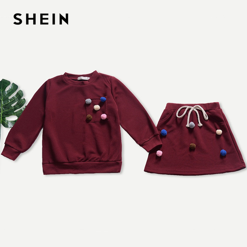 SHEIN Kiddie Burgundy Knot Pom Pom Top With Skirt Suit For Toddler Girls Clothing 2019 Spring Fashion Cute Kids Clothes Girl Set leaf print tote bag with pom pom