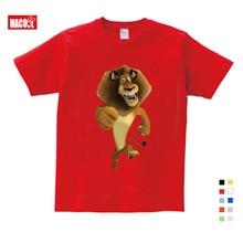 2019 Summer New T Shirt Cartoon Madagascar Lion Alex  Cute Tops Send Children Birthday Gift T-shirt 3-12 years