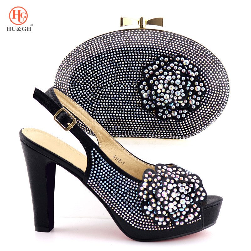 2019 African Wedding Shoe and Bag Ladies Black Color Shoes with Matching Bag for Woman Italian