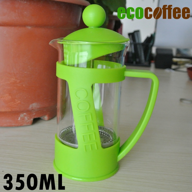 Eco Coffee Accessories Free Shipping 350ML High Quality French Press Coffee Plungers Green one
