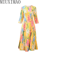 High Quality 2018 Autumn New Arrival Fashion O-Neckl Wrist Flower Pattern Print Elegant Mid-Calf  Zipper Dress Women