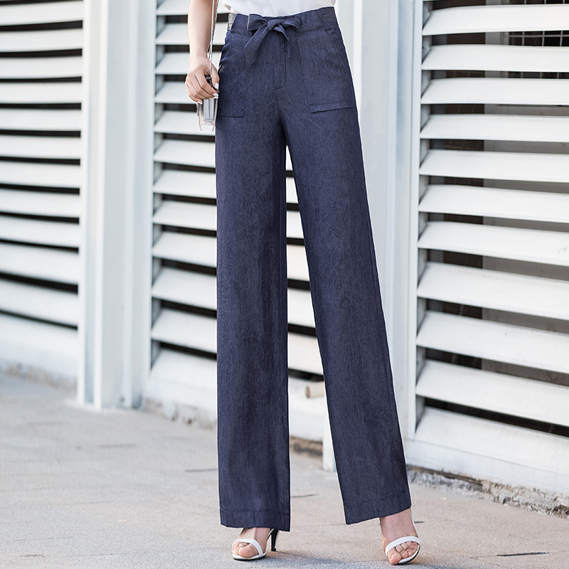 blue tencel   wide     leg     pants   women 2019 summer sashes high waist streetwear full length trousers women harajuku new palazzo   pants