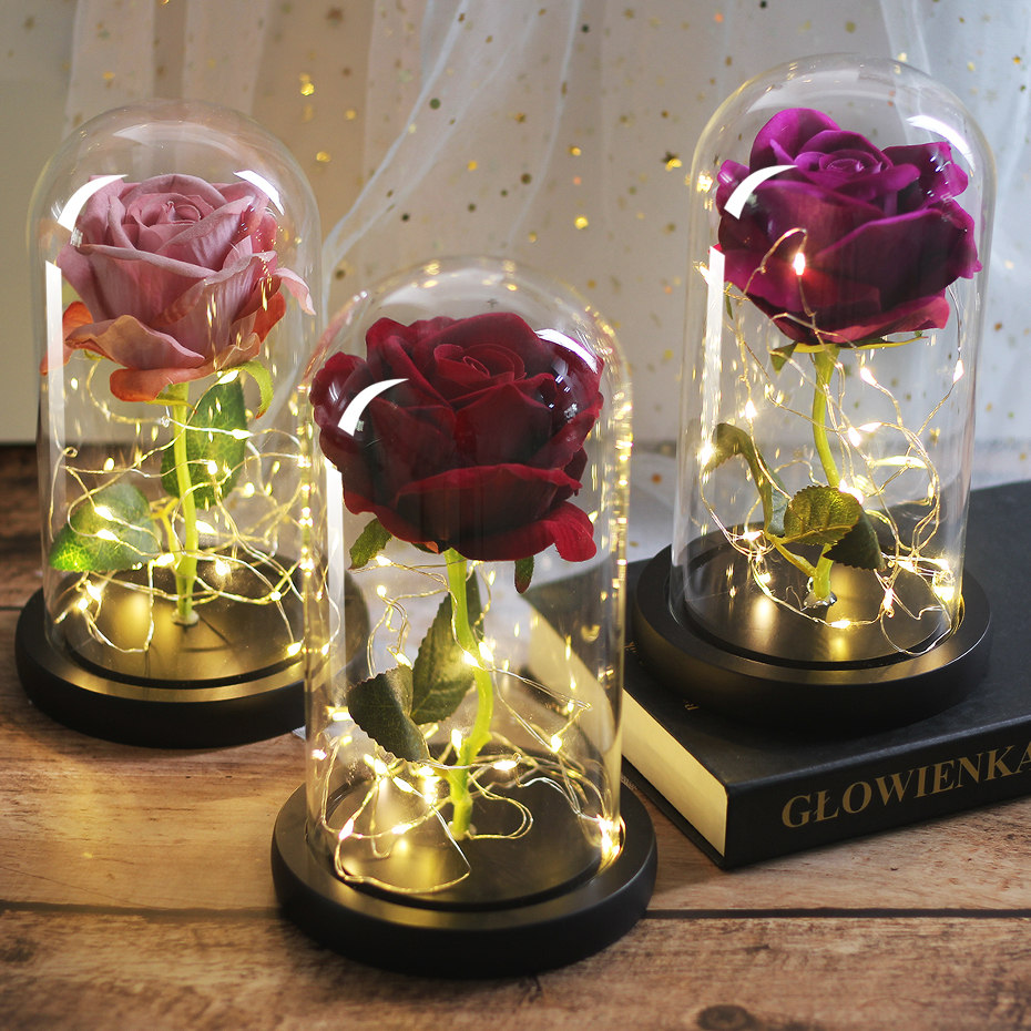 Eternal Flower Flask Light-Up Rose Day-Gifts Dome The-Beast Beauty Valentine's-Day Immortal Flora