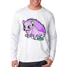 Men T Shirt Basic White Tshirt Design Cotton Male Long Sleeve Tshirts Youth T-Shirt Hedgehog Printing Mens Tees Ropa de hombre