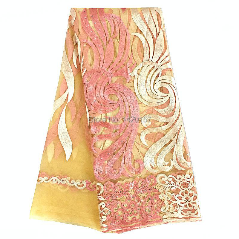 Materiales de encaje de cordón de melocotón 2016 nueva tela de encaje de Red Africana de alta calidad tela de guipur de oro 51 52 pulgadas nigeriana telas de encaje-in encaje from Hogar y Mascotas    1