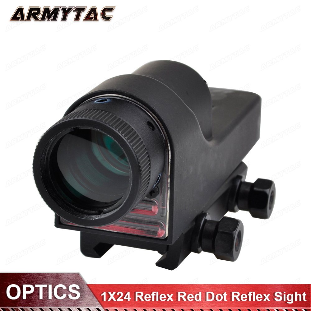 все цены на Tactical 1X24 Red Dot Reflex Holographic Sight Shockproof Riflescope For Hunting Airsoft Optical Weapon Gun Rifle Scope онлайн