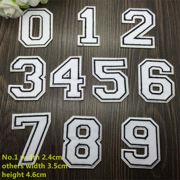 BX New arrival 10 pcs white arab numbers 0-9 Embroidered patches iron on  Motif