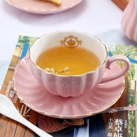 INMYLIFE British Bone China Coffee Cup Pumpkin Stripe Ceramic Drinkware with Saucer and Spoon Gold Plated Europe Style