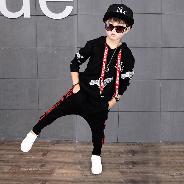 Children Clothing Sets Baby Kids Boy Hoodie Pure Cotton Long Sleeve  Streetwear Style Clothing Printing Suits Boys Sweater Black e9be3f16ad54