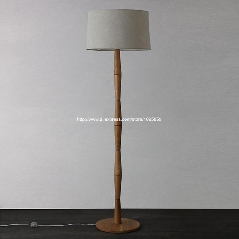 Free Shipping Modern Bamboo Slub Wooden Floor Lamps Wood Bedroom Bedside Standard LightingChina