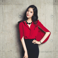 Women Blouses Top Korea New 2015 Summer Turn Down Collar Elegant Cloak Top Cape Shirts Casual