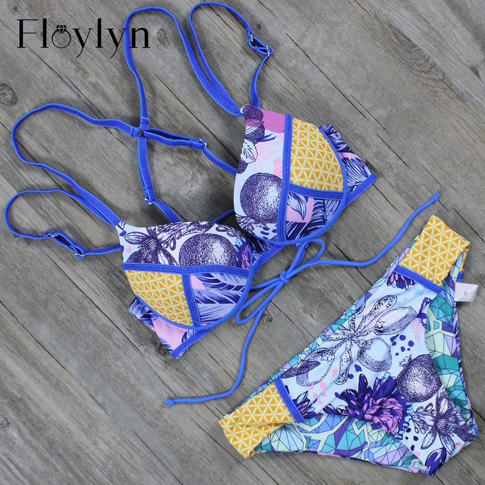 Floylyn 2017 Sexy Swimwear Women Brazilian Bikinis Print Swimsuit Bathing Suit Woman Beachwear Biquini Maillot De Bain Bikini