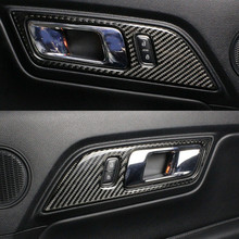 In Fibra di carbonio maniglia Interna della porta Telaio Trim Per Mustang 2015 2016 2017 2018 Adesivi Per Auto Car Styling