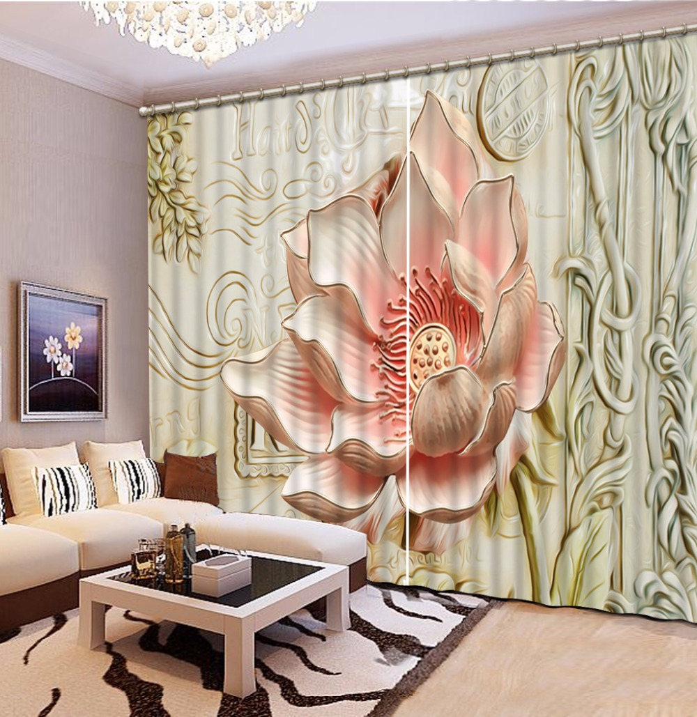 Customize 3d Luxury Curtains For Bedroom Embossed Lotus Flowers Curtains For Living Room 3d Stereoscopic Curtains