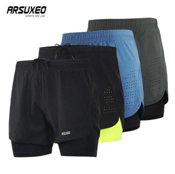 ARSUXEO Women Men Sports Running Shorts Active Training Exercise Jogging 2 in 1 Shorts With Longer Liner Outdoor Sports arsuxeo 2019 men's running shorts 2 in 1 quick dry sports shorts active training exercise jogging shorts breathable b202