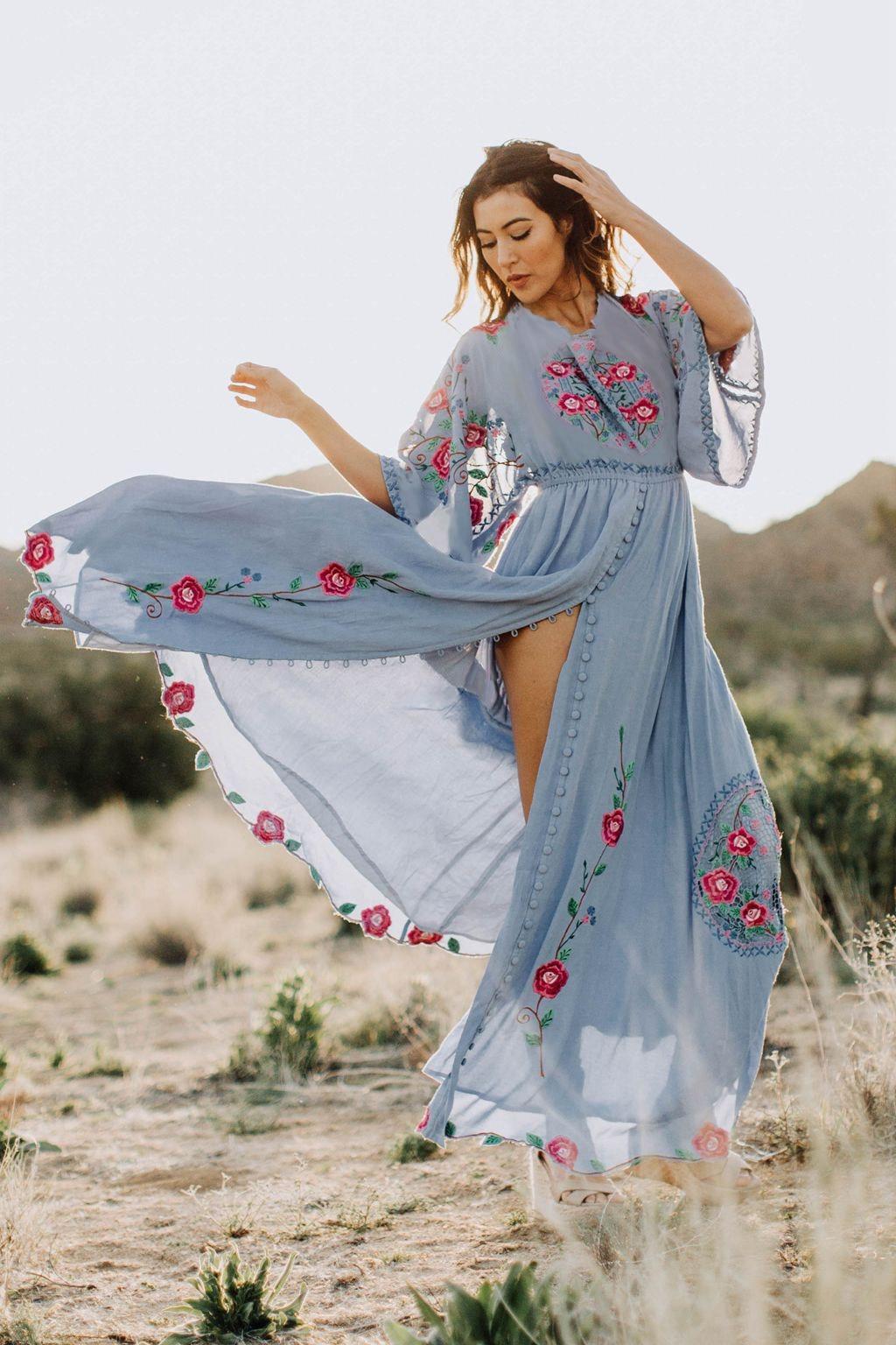 Été Boho Robe de broderie florale couleur unie longue Robe fendue décontracté bohème femme Robe de plage