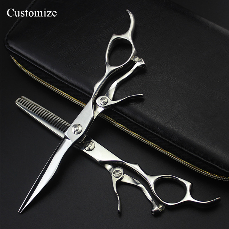 Customize logo upscale japan 440c steel 6 inch hair salon scissors cutting barber makas Thinning shears
