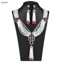 Bohemia Necklace and Earing Set Handmade Pearls Cheer Jewelry with Green and Red Rhinestone Luxury Turkish Jewelry