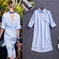 2016 Runway Fashion Women Summer Sexy Dress Backless Midi Party Dress Striped Asymmetrical Designer Casual Shirt Dress Vestidos
