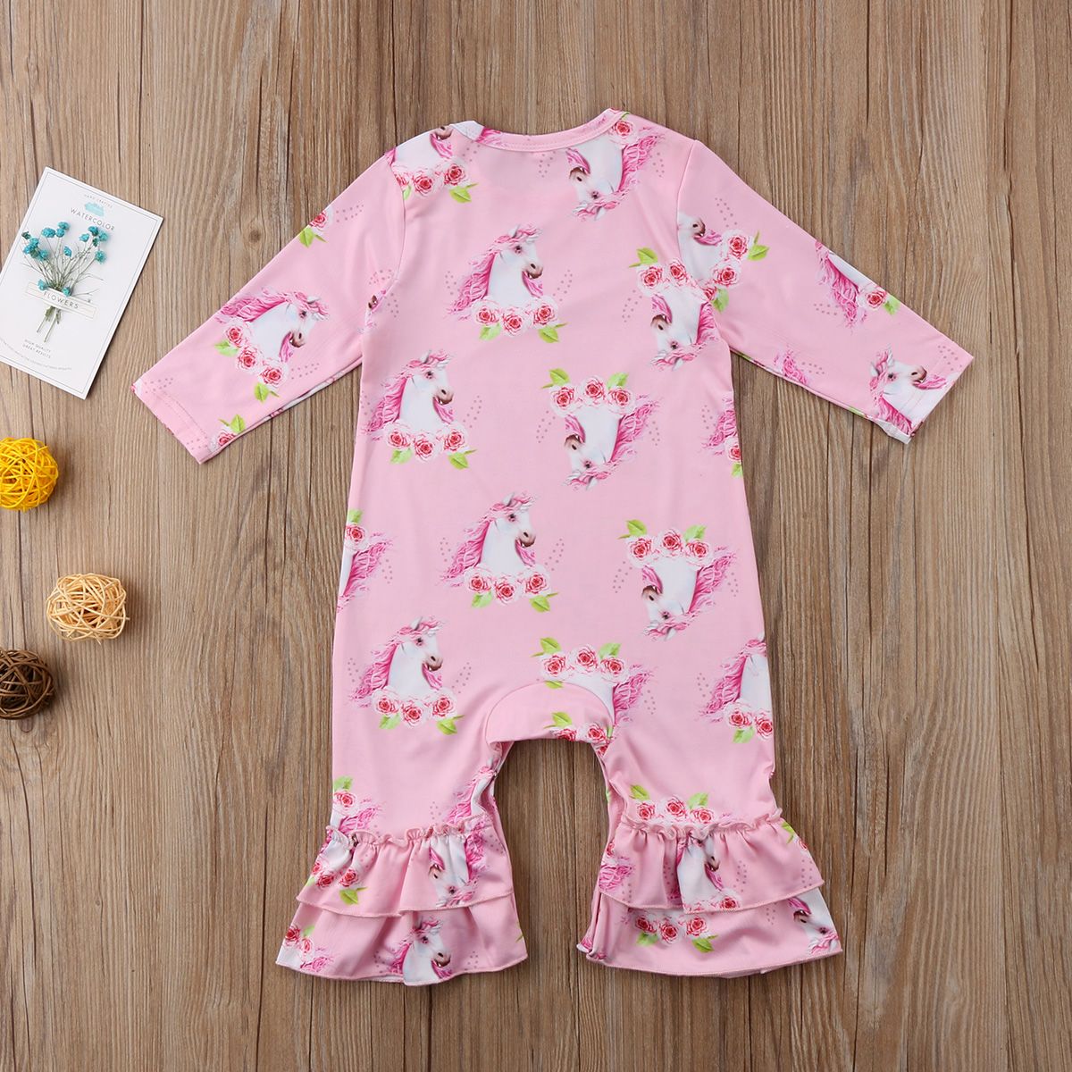 48f24f9a4ec1 Newborn Baby Girl Bloom flower Rompers Long Sleeve Romper Baby Girls Ruffle  Jumpsuit Outfits Toddler baby Clothing-in Rompers from Mother   Kids on ...