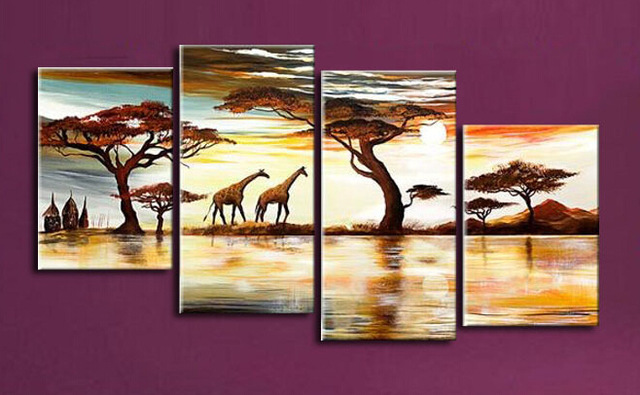 Nice Hot Sale African Giraffe Animals Landscape Wall Art Canvas Oil Painting  Home Decor Wall Picture For