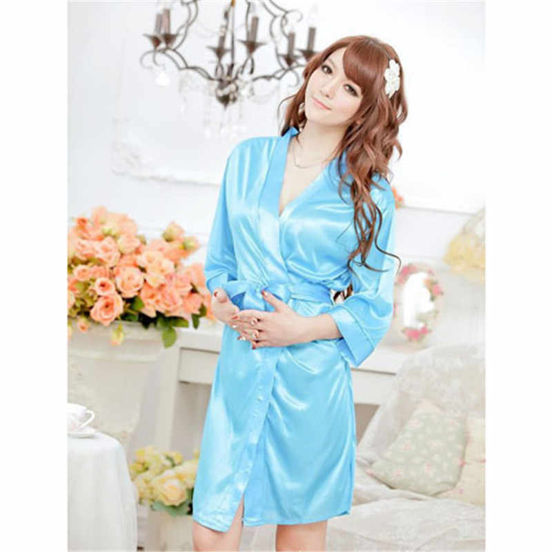 Sexy Women Dress Lingerie room stylish and comfortable pajamas 5 color satin kimono robes for women