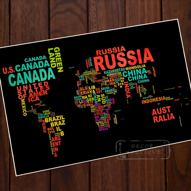 Pop art english alphabet world map classic vintage retro kraft pop art english alphabet world map classic vintage retro kraft decorative poster maps home bar posters gumiabroncs Image collections