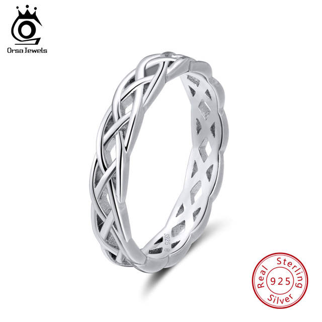cc2b856bc39d Online Shop ORSA JEWELS 925 Sterling Silver Rings Women Unique Twisted  Shape Round Ring Wedding Band Fashion Jewelry Anniversary Gift SR62