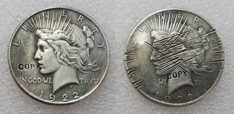 Монета с надписью «Scratch 1922 Peace», монета «Two Face» (1922), копия