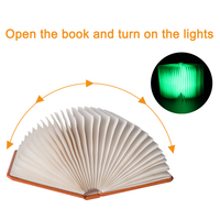 Creative LED Booklight Foldable Pages LED Book Shape Night Light Four Colors Glowing Gift Light For