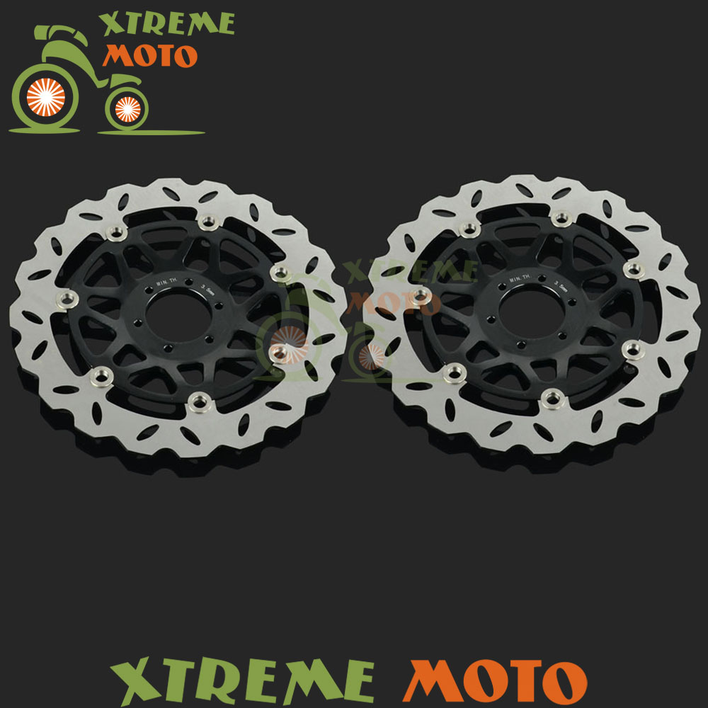 2Pcs Black Motorcycle Front Floating Brake Disc Rotor For VTEC 400 CB400SF CB400 SuperFour 1999-2009 Motocross Dirt Bike 2pcs black motorcycle front floating brake disc rotor for cbr1100xx blackbird cb1100sf cb1300 cb1300f sc42 1100cc 1284cc