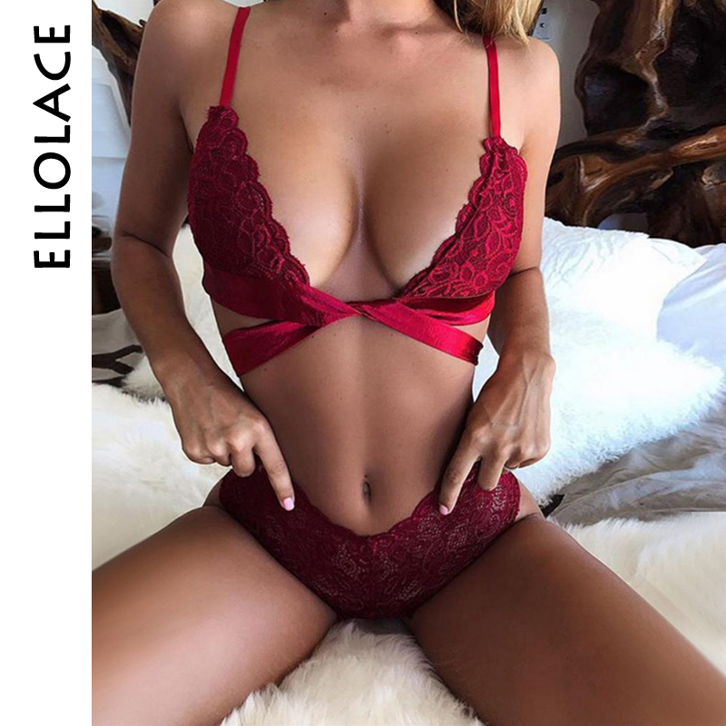 Ellolace Red Sexy Lingerie Lace Brasserie Women   Bra     Set   2019 Fashion Bow Tie   Bra     Brief     Sets   Transparent Underwear Intimates