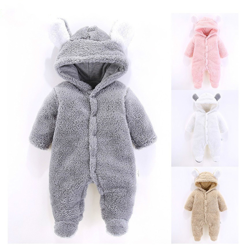 Baby Clothing 2018 Spring New Winter Clothes Rabbit Romper Newborn Warm 3 12m Boys Girls jumpsuits Outwear Long Sleeve Ear