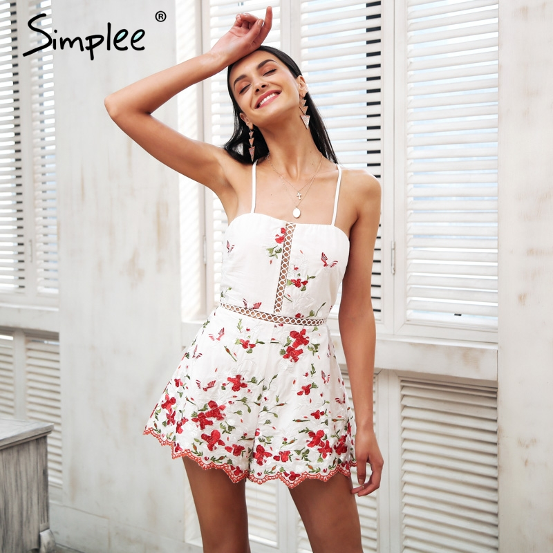 Simplee Lace up floral embroidery rompers Women   jumpsuit   Sexy strap backless playsuit 2018 Vintage black summer macacao feminino