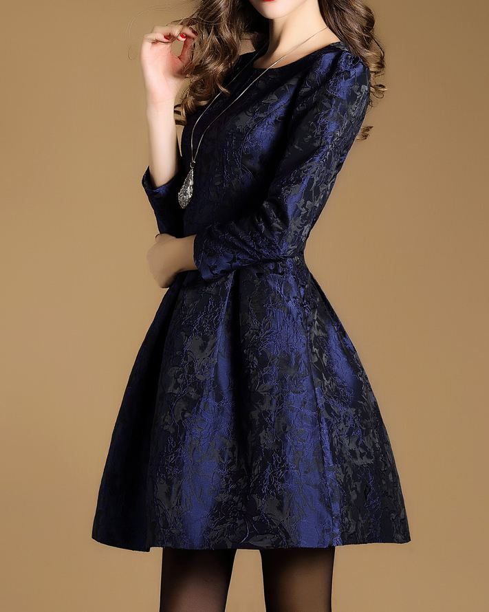 2017 New Fashion Women Quality Dress Elegant And Round Neck Long Sleeve Jacquard Dress A Word Vestidos Party Office Clothing