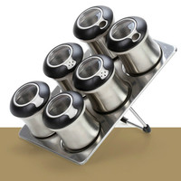 7 PCS Rotary condiment bottle Sealed condiment tank Stainless steel condiment bottle LM12131626