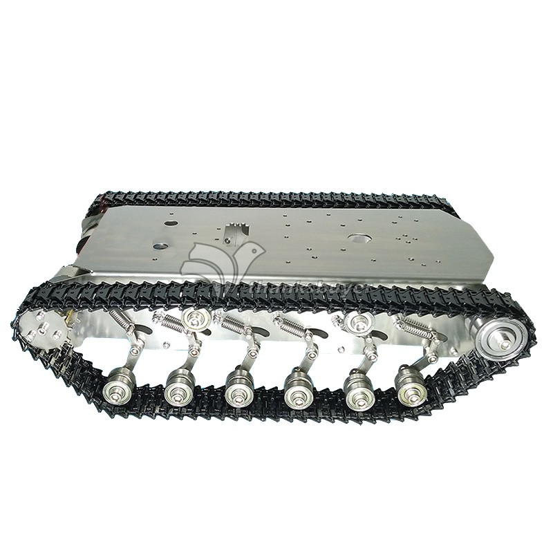 T600 Stainless Steel Tank Truck Intelligent Robot Chassis Metal Pedrail with Shock Absorber