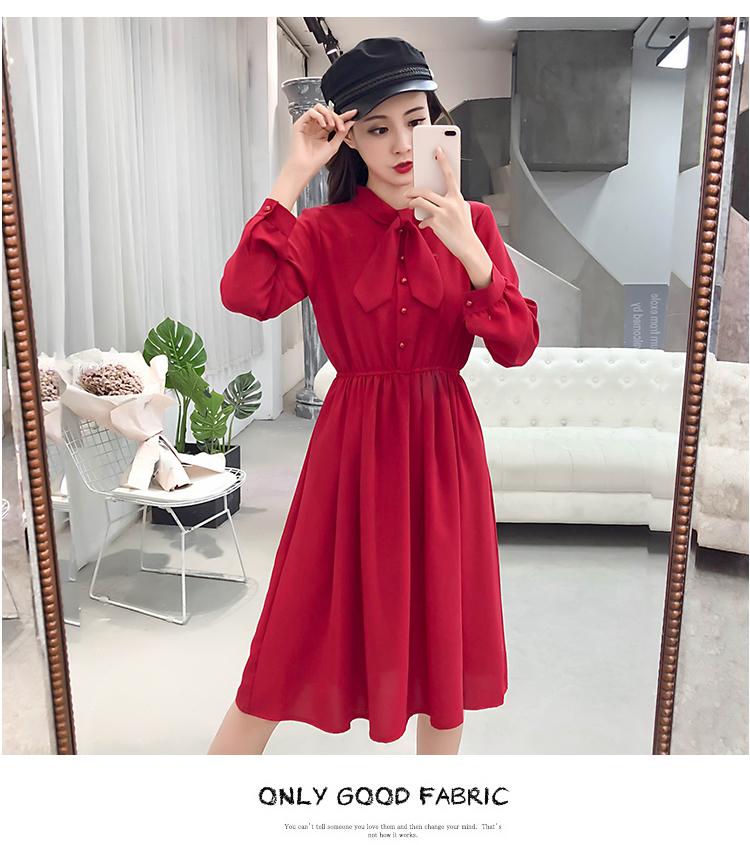 fashion bow collar women dresses party night club dress 2019 new spring long sleeve solid chiffon dress women clothing B101 14