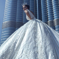 Pearls 2017 Floral Lace Bridal Dresses Dubai Cathedral Train Wedding Gowns Sexy Backless Beaded Arabic Vestido De Noiva