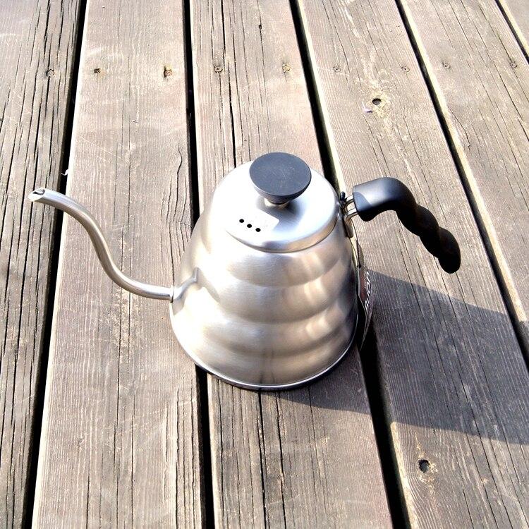 1 unid 1.0L hario estilo té y café goteo tetera olla de acero inoxidable gooseneck agua caliente para barista