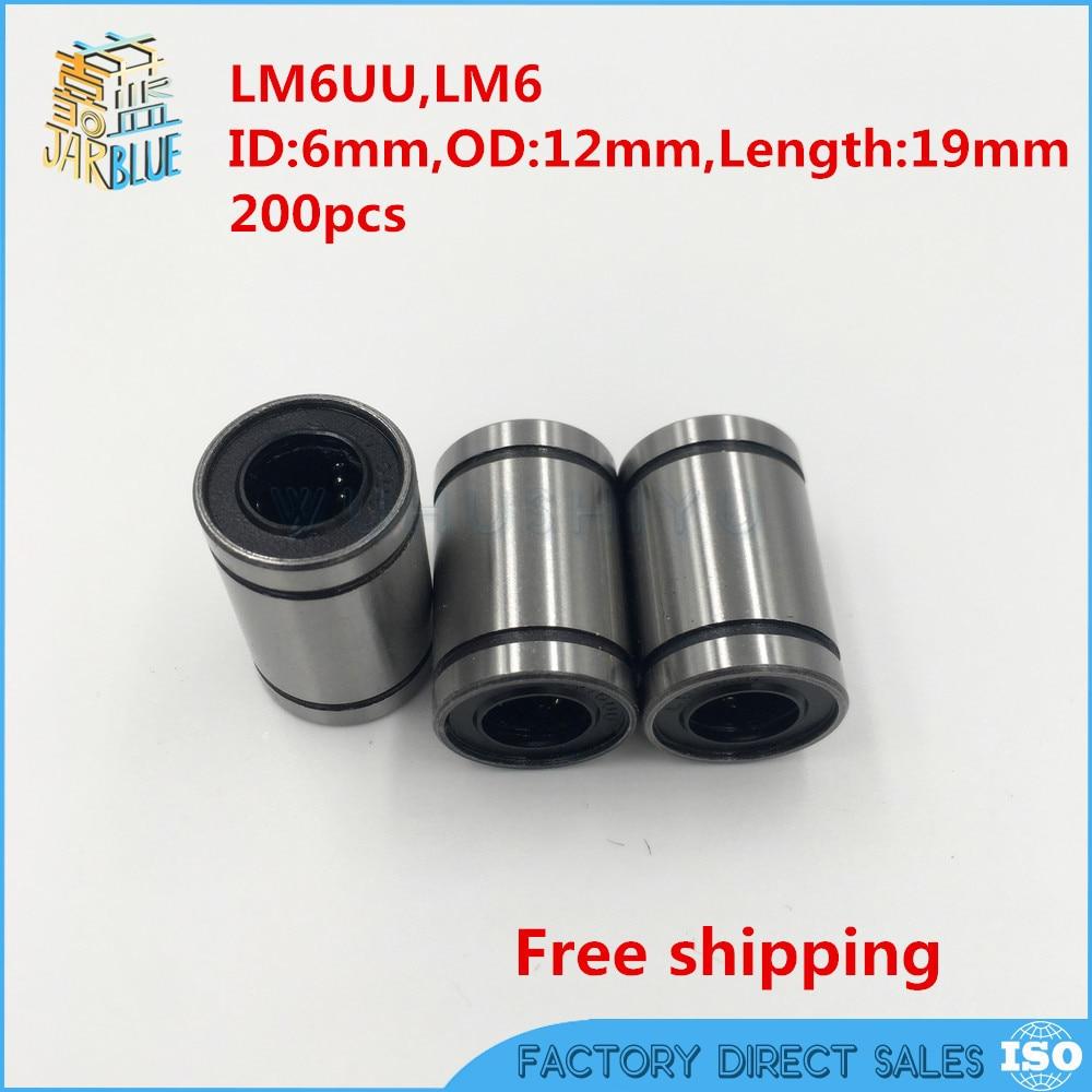 200pcs/lot Free shipping  LM6UU 6mm Linear Ball Bearing CNC part Linear Bearings free shipping 2pcs lot sc35vuu sc35suu linear case unit bearings