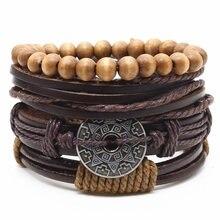 Weave Vintage Punk Beads Male Women Cross Feather Love Rudder Men Leather Charm Bracelets Female Homme Jewelry