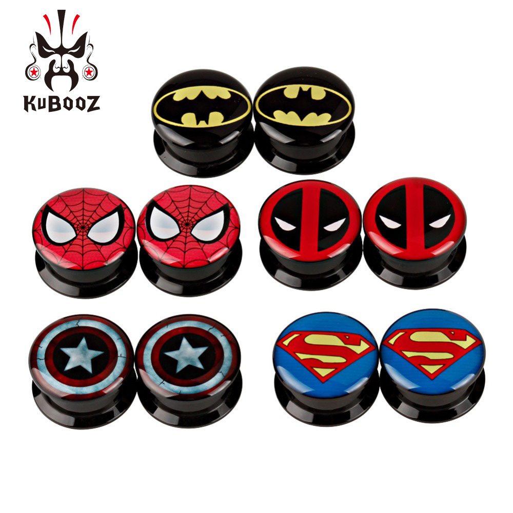 KUBOOZ Acrylic Ear Plugs Piercing Present Screw Body Jewelry Logo Picture Gauges Expander Tunnels Fashion Cool Gift 5 Pairs|Body Jewelry| |  - title=