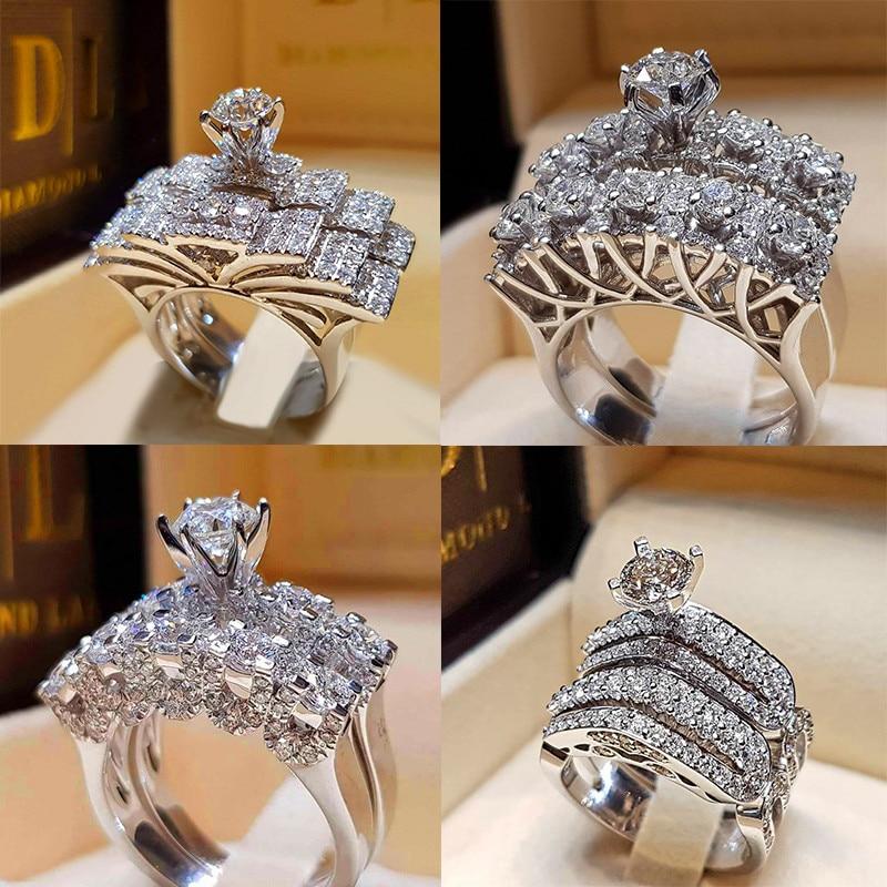 Boho Weibliche Kristall Zirkon Hochzeit Ring Set Mode 925 Silber Große Stein Finger Ring Versprechen Braut Verlobung Ringe Für Frauen Schmuck & Zubehör Verlobungsringe