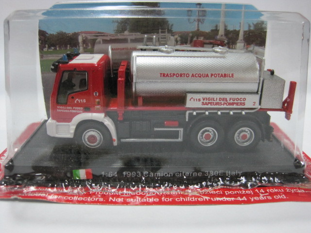 AMER 1/64 Car Model Toys Italy 1993 CAMION CITERNE 380E Fire Engine Diecast Metal Truck  ...